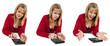 rechnende junge Frau (22 Jahre) mit Taschenrechner, liegend