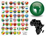 Afrika Flaggen Fahnen Set Buttons Icons Sprachen 5