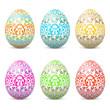 Ostereier, Ostern, Eier, Set, bunt, Ornamente, Muster, floral