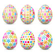 Ostereier, Osterfest, Ostern, Eier, Set, farbig, gepunktet