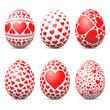 Ostereier, Ostern, Eier, Set, Herz, Liebe, verliebt, rot, farbig