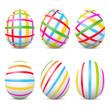 Ostereier, Osterfest, Eier, Set, bunte Eier, gestreift, Streifen