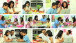 Montage Images of Asian Family Modern Lifestyle