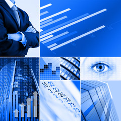 blue business collage
