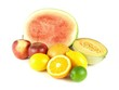 Watermelon, melon, orange and other tropical fruits