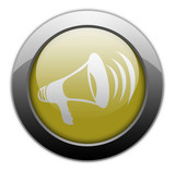 "Yellow Metallic Orb Button ""Megaphone / Announcement Symbol"""