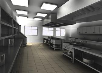 3d render of professional restaurant kitchen