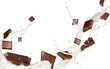 Leinwandbild Motiv Chocolates pieces falling in milk splash,isolated on white
