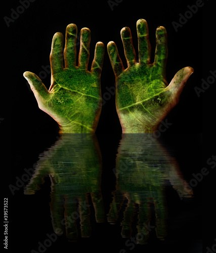 green hands reflection
