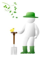 Gardener with bird