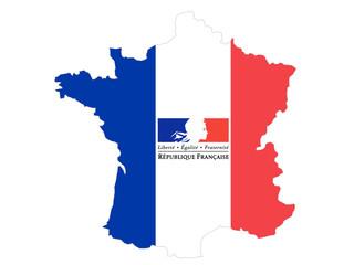 carte de france - liberté égalité fraternité