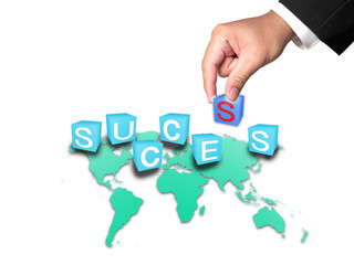 Business Hand and Success word on white background