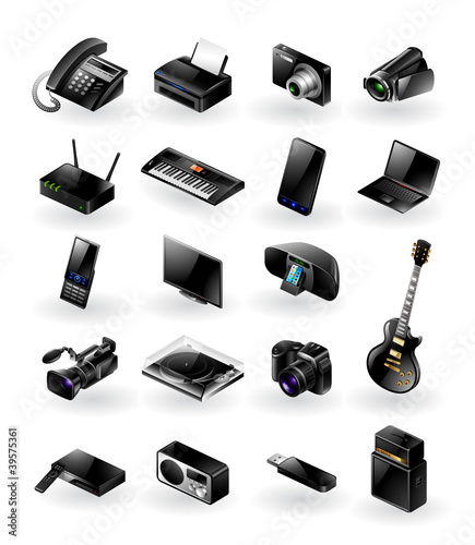 Mixed vector icon set - electronics in various categories