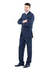 Full body portrait of happy smiling business man,