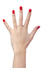 Human hand with red nails