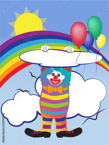 Fotobehang Regenboog Vector illustration with a clown and baloons