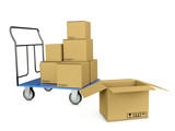 3d image trolley with boxes symbolizing bystrtsyu shipping and w