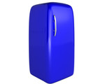 3D Image: Blue refrigerator on a white background