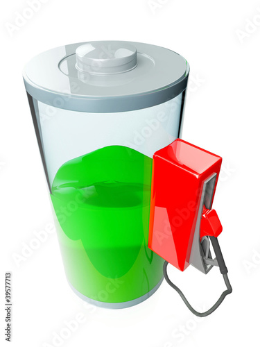 3d illustration: battery, battery charge on an isolated white ba