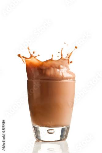 Chocolate splashing into glass