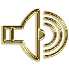 Volume sign - golden speaker