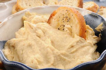 Close up hummus dip