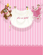 baby girl pink openwork announcement card