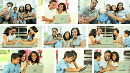 Montage of an Ethnic Family's Technology Lifestyle