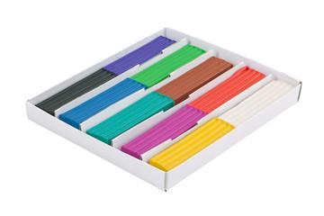 Set of colored plasticine in a box