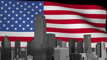 Dallas skyline with rippling American Flag animation