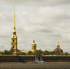 Peter and Paul cathedral and neva river