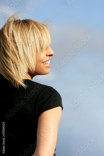 Portrait of happy blond woman