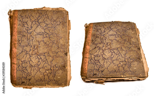 Collection of old books isolated on white