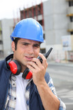 Construction worker with radio
