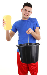 Guy with a bucket and sponge
