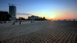 time lapse. Dnepropetrovsk waterfront at sunset. slider shot.