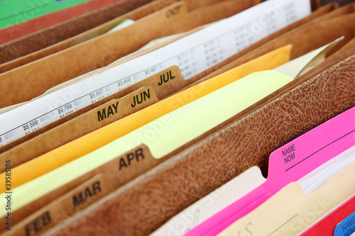 Closeup of folders in expending file pockets