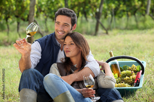 Couple enjoying a bottle of wine whilst harvesting grapes