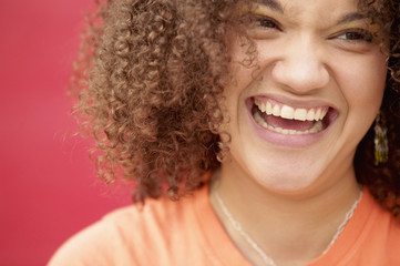 Close up of teenage girl laughing