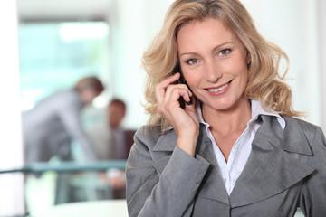 Businesswoman using a cellphone in an office