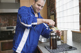 Man making coffee with french press