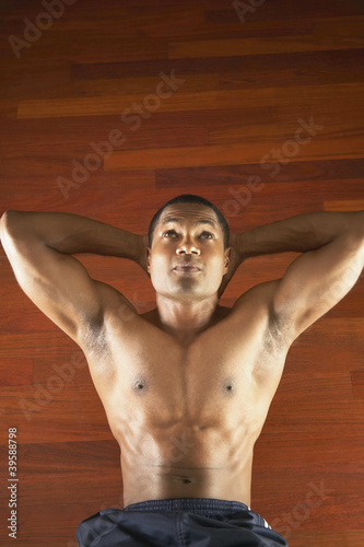 Man doing crunches