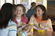 Teenage girls eating at restaurant
