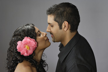 Profile of couple kissing