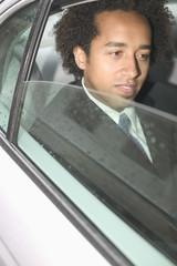 Close up of businessman in car