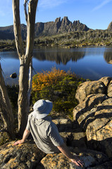 Hiker in Lake St Clair National Park, Tasmania, Australia