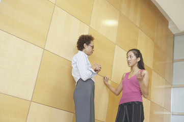 Low angle view of two businesswomen talking