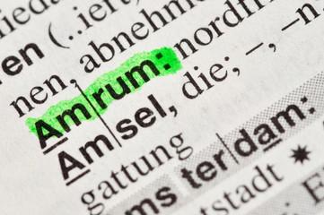 Amrum Insel im Wörterbuch markiert