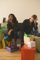 Couple surrounded by presents