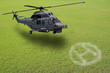 helicopter landing on grass field